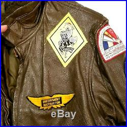 G-1 Vintage Leather Jacket with Military Patches Bomber USN Navy Fighter Pilot G1