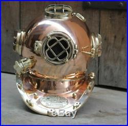 Heavy USN Mark V Copper & Brass Diving Divers Helmet Full Size