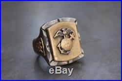 Huge USN Marines WWII Style Mexican Biker Ring FLT Fine Light Trading Mens Ring