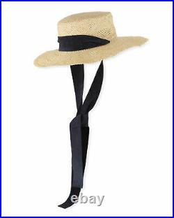 Janessa Leone Nina Women's Jute Straw Boater Sun Hat NATURAL / NAVY Size M