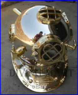 Mark V Full Brass Full Size 18 Inch Nickel Chrome Diving Divers Helmet U. S Navy