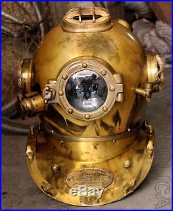 Mark V Vintage Solid Steel U. S Navy Diving Divers Helmet 18'