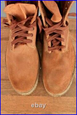 Men's NOS 1940s WWII USN Roughout Leather Boondocker Boots 11.5B WW2 Navy Shoes