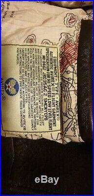 Mens Authentic AVIREX Vintage Leather Flight Jacket U. S. Navy Type G-1 Size XXL