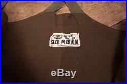Mens Vintage USN 40s WW2 Green Wool Lined Deck Pants Bib Overalls Large XR 8398