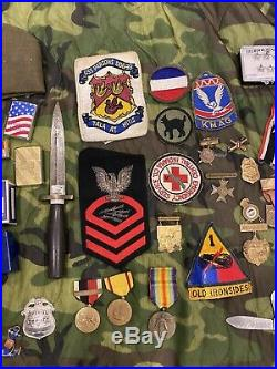 Military Junk Drawer Lot, WW1 Vietnam, US Army Navy Insignia Medals Pins Patches