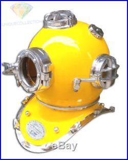 Morse Mark Diving Helmet Mark V Yellow & Chrome Finish U. S. Navy Divers Costume