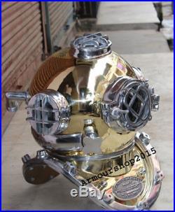 Morse U. S Navy Diving Helmet Vintage Solid Brass & Aluminium Full Size