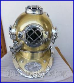 NAUTICAL DECOR REPLICA U. S NAVY MARK V Solid Steel Scuba Diving Divers Helmet