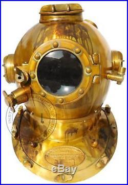 Nautical 18'' U. S Navy Diving Helmet Mark V Glass Vintage Home Decorative Item