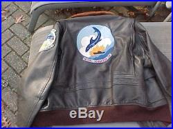 ORIG VIETNAM VINTAGE 1968 G1 USN LEATHER FLIGHT JACKET With SQUADRON PATCHES SZ46