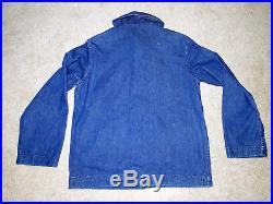 ORIGINAL Vintage 40s WWII navy denim shawl collar chore jacket deck coat