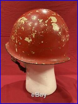 ORIGINAL WW2 Front Seam Damage Control Schlueter M1 Helmet US Navy Swivel Bale