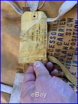 ORIGINAL WW2 USN LIFE RAFT RUBBERIZED BAG CASE SURVIVAL Jan 1944 B-17 Pilot Gear