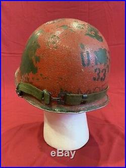 ORIGINAL WWII Front Seam Unit 33 Damage Control Schlueter M1 Helmet US Navy