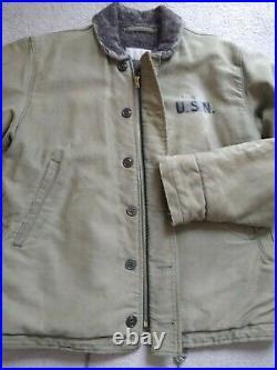 Original N1 N-1 US Navy USN Deck Jacket Coat WWII WW2 Size 40 Khaki NXsx-50246