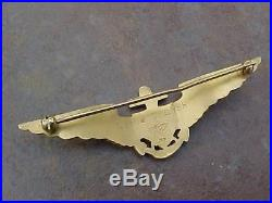 Original Pre Wwii Rare H&h Pattern Usn Naval Aviator Wings 10k Gold Engraved
