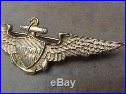 Original Pre Wwii Rare H&h Pattern Usn Naval Aviator Wings 14k Gold