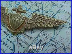 Original Ultra Rare Wwi Usn Naval Aviator Pilot Wings 14k Gold By Wm Link