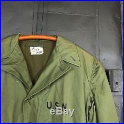 Original Vintage 1944 WWII Deadstock USN N-4 Deck Jacket Sz 38