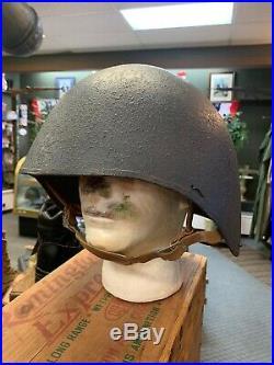 Original WWII U. S. Navy USN MK2 Talker Gunner Flak Helmet with Chin Strap WW2