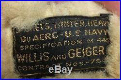 Original WWII US Navy Willis & Geiger M-445 Heavy Winter Flight Jacket Named