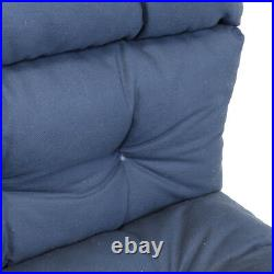 Outdoor Patio Pretty Wicker Chaise Lounge Chair Cushion Made in USA (Navy Blue)