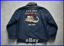 PHERROW'S US Navy Blue Painted N-1 Deck Jacket WW2 USN Repro Buzz Military M-XL