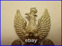 Poland Ww2 Original Long Beak Polish Navy Eagle Cap Badge Circa 1940