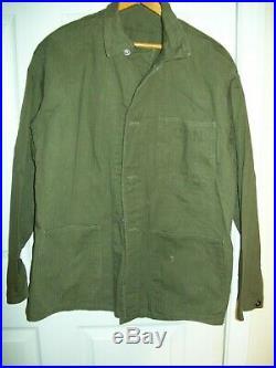RARE Vtg-WW2 WWII USN Herringbone P41 HBT-Utility Shirt Jacket- NAVY