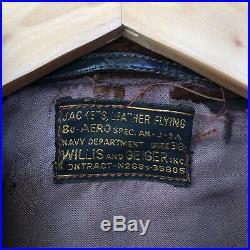 RARE WW2 WILLIS & GEIGER 40s AN-J-3A HORSEHIDE Leather FLIGHT JACKET BOMBER USN