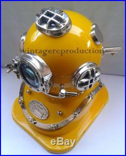 ROYAL U. S NAVY MARK V SOLID BRASS YELLOW DIVING DIVERS HELMET With BASE