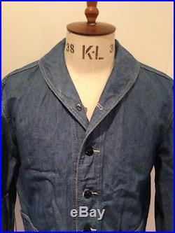 RRL USN style shawl collar blue chambray deck jacket. 30s 40s 50s