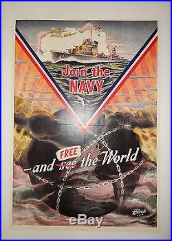 Rare Original WWII US Navy Recruiting Poster Destroyer Aviation Corsair Poster