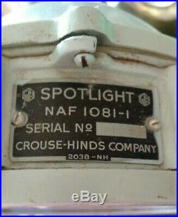 Rare U. S. Navy WWII PT Boat SPOTLIGHT CROUSE-HINDS Morse Code Blinker Light