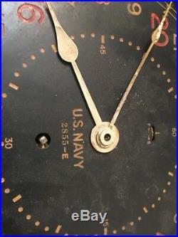 Rare WWII Era Seth Thomas US Navy 24 Hour Military Time Zulu Clock 8 1/2 Dial