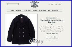 Real Mccoys U. S Navy Pea coat Buzz Ricksons Joe Mccoy