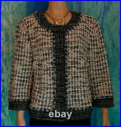 ST JOHN COLLECTION Knit Navy Blue Cream JACKET Only XL 16 14 Suit Blazer Fringes