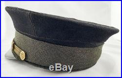 STELLAR WW1 US Navy Naval Officer Visor Hat! Blue Cover! EXCELLENT Condition