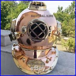 Solid Brass Full Size 18Antique Style Morse Diving Helmet U. S Navy Mark V