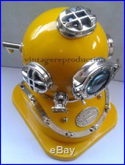 Solid Brass U. S Navy Mark V Diving Divers Yellow Helmet