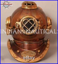 Solid Full Size Diving Helmet Diver Copper and Brass Boston Mass U. S Navy Mark V