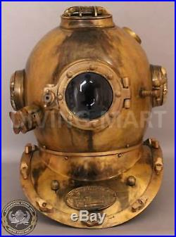 Solid Steel & Brass Antique U. S Navy Mark V Diving Divers Helmet Full 18