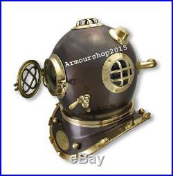 Solid Steel U. S Navy Mark IV Full Size 18''Antique Diving Divers Helmet