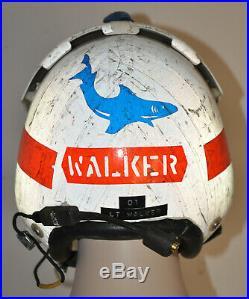 U. S. N. HGU-34/P Helmet original VP-6 BLUE SHARKS squadron marked and named USN