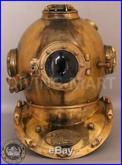U. S Navy Antique Diving Divers Helmet Solid Iron Mark V Full Size 18'