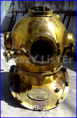 U. S Navy Antique Diving Divers Solid Steel Helmet Mark V Vintage Divers Gift