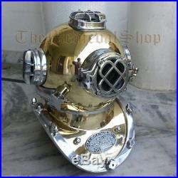 U. S Navy Antique Scuba Deep Sea Diving Divers Helmet Mark V Vintage 18