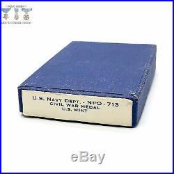 U. S. Navy CIVIL War Campaign Medal Slot Brooch Wwii U. S. Mint Contract Box