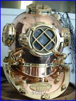U. S Navy Copper Brass Diving Divers Helmet Solid Heavy Model Mark V 18 P216
